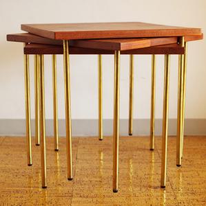 France and Daverkosen Denmark Teak & Brass Table Set by Peter Hvidt 1952 / ウェグナー フィンユール カッシーナ ヤコブセン ペリアン