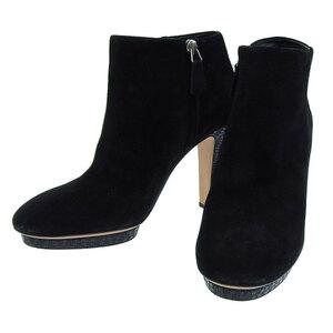 【本物保証】 美品 シャネル CHANEL ココマーク ショートブーツ スエード ブラック ロゴ ファスナー 靴 38C