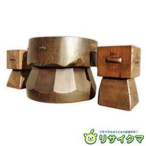 【中古】K▼民芸時代 柳宗悦 河井寛次郎などの民芸運動時代の特徴的な作品 椅子 テーブル 3点セット (22686)
