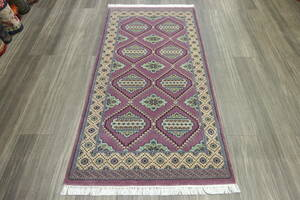 SALE 最高級カーペット パキスタン手織り絨毯 インテリアラグ 玄関マット アクセントラグ 77x147cm #428