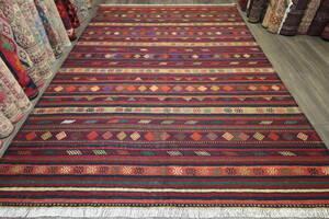 新品 大判 アフガニスタン トライバルラグ 手織りキリム リビングラグ 204x286cm #246