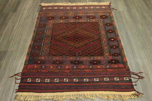 ヴィンテージ アフガニスタン トライバルラグ マシュワニキリム オールド手織りキリム&絨毯 95x119cm #967
