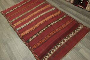 アフガニスタン オールド手織りキリム トライバルラグ ヴィンテージ 142x222cm #665