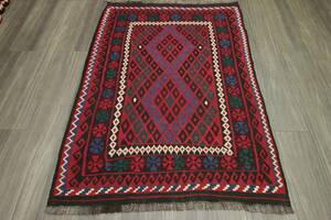 マイマナキリム アフガニスタン トライバルラグ オールド手織りキリム ヴィンテージ 106x150cm #670