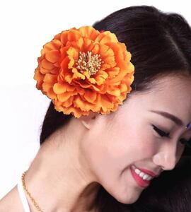 髪飾り【オレンジ】ヘッドドレス ヘアアクセサリー ダンス衣装 和風 浴衣 花 カメリア ダリア 牡丹 フラワー ヘアゴム cyo166