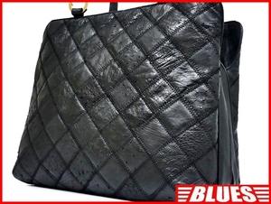 即決★N.B.★レザーハンドバッグ パッチワーク メンズ 黒 オーストリッチ型押し 本革 トートバッグ 本皮 かばん レディース 手提げバッグ