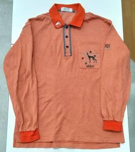 adabat アダバット 長袖ポロシャツ ポロシャツ オレンジ 4 メンズ ゴルフ 日本製 MADE IN JAPAN サルーキ 犬 刺繍