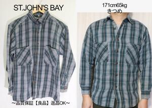 【メンズ】【良品保証返品OK】ST.JOHN'S BAYヘビーネルシャツ/USA古着アメカジカッコいい♪M