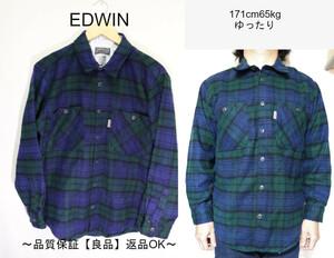 【メンズ】【良品保証返品OK】EDWINウールシャツ/アメカジタータンマドラスM