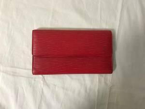 本物ルイヴィトンLVエピインターナショナル三つ折り長財布サイフ札入れメンズレディース旅行トラベルビジネスカードケース赤レッド