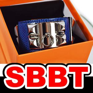 ●【SBBT】 HERMES エルメス コリエドシアン ブルーサフィール リザード S金具 X刻印 ♯S バングル ブレスレット 本物 未使用