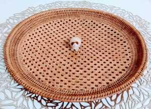 即決! 美品 昭和レトロ 美しい 手編み 籐 お盆 トレイ 骨董品 検: アタ アジアン雑貨