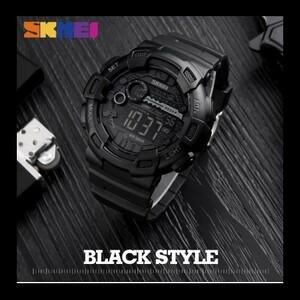 ★お買い得★屋外 スポーツ腕時計 メンズ 多機能 5Bar 防水 PU ストラップ Led ディスプレイ腕時計 クロノデジタル腕時計 リロイ Hombre