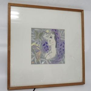阿部笙子 藤の娘? 蝶? 木版画 落款在 版画 絵画 額装 白石和紙 真作保証 約52cm×約52cm 現状 f002