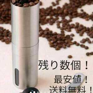 コーヒーミル 手挽き 携帯 丸洗い可 キャンプ 新品 ステンレス フェス【再入荷!※購入前、購入後のメッセージ不要