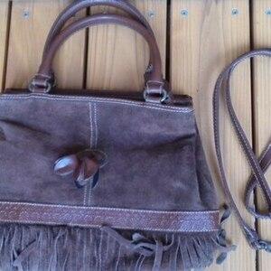 美品 高級 スウェード 本革レザー ハンドバッグ 茶 ショルダーバッグ 肩掛け 手提げ フリンジ ブラウン 2way 鞄 かばん