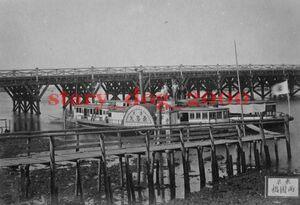 複製復刻 絵葉書/古写真 東京 両国橋と第二永島丸 川蒸気船 隅田川 明治期 WA_076