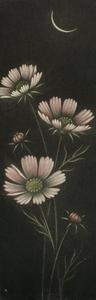 仙北谷和子「晩秋」銅版画 カラーメゾチント 額装 菊 月