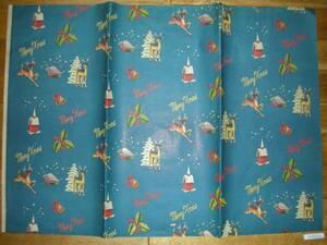 昭和レトロ クリスマス 包装紙 天使 トナカイ 柄 メリー・クリスマス ラッピングペーパー デパート おもちゃ屋 お菓子屋