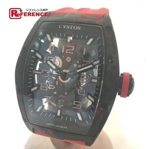 新品同様 CVSTOS クストス CVT-JET2-SL-RED FGDC メンズ腕時計 チャレンジ ジェットライナー スケルトン カーボン/ラバーベルト 自動巻き