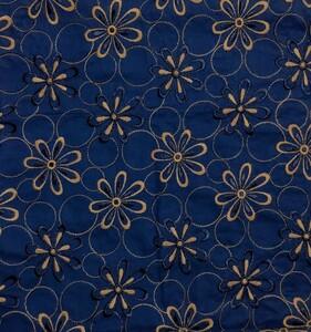 刺繍生地 レース刺繍 エンブロイダリーレース   48cm×50cm  ネービー 日本製