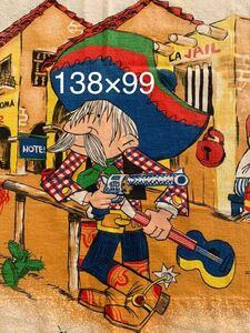 メキシコ カウボーイ柄 ビンテージ生地 インポート リメイク 古着 コレクター ハンドメイド USA レトロ デッドストック アンティーク 布