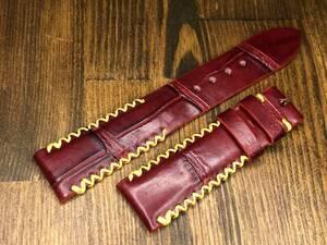 送料込 本物 クロコダイル ワニ革 ベルト 20mm/18mm ボルドー ワインレッド 腕時計 バンド z17