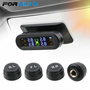 車のタイヤ空気圧モニター温度警告燃料節約ソーラーTPMSタイヤ空気圧監視システム4外部センサー