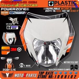 POWERZONE オートバイダートバイクモトクロス SUPERMOTO ユニバーサルヘッドライトヘッドランプ KTM EXC XCW EXCF SX SXF 125 250 300 450