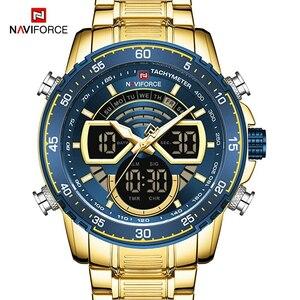 NAVIFORCEラグジュアリーゴールドデュアルディスプレイ軍事スポーツ腕時計クォーツデジタル腕時計防水時計レロジオMASCULINO
