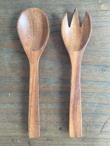 木製 スプーン フォーク サラダサーバー