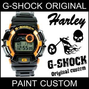 【送料無料】 Gショック カスタム D ハーレー DW-9500 エアーブラシ 塗装 1点物 限定 G-SHOCK バイク アメリカン ホットロッド チョッパー