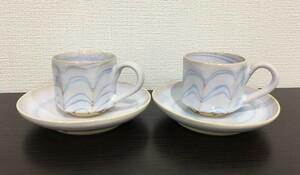 ◆ ティーカップ ソーサー 2セット 薄紫 焼き物 陶器 食器 紅茶 珈琲 リラックス カップ コップ 皿 茶器