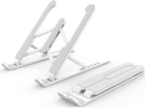 ノートパソコン スタンド PCスタンド 折りたたみ式 ラップトップスタンド 6段高さ調節可能 15.6インチまで対応 収納袋付き(白