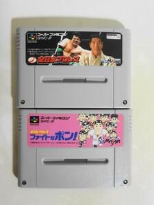 送料無料 即決 使用感あり 任天堂 スーパーファミコン SFC 全日本プロレス ファイトだポン! セット スポーツ レトロ ゲーム ソフト b70