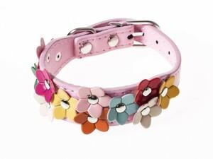 ペット用首輪 猫 小型犬 可愛い フラワー模様 XSサイズ#ピンク