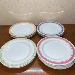 食器 お皿 12枚セット ピンク グリーン ブルー イエロー 4色カラー