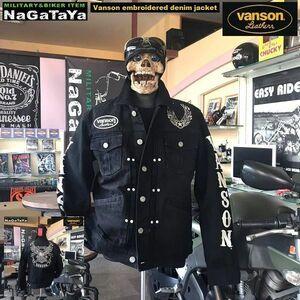 バンソン VANSON イーグル刺繍 デニムジャケット Gジャン Lサイズ NVSI-2102 ブラック バイカーウェア アウトローMC