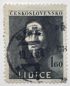 チェコスロバキア 切手 1947年発行 リディツェ村の虐殺5周年記念 1.6kcs 郵便 郵趣 東欧 中欧 ヨーロッパ 欧州 Czech 共和国 ナチスドイツ