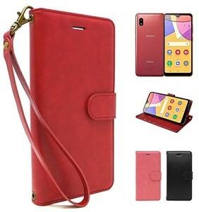 シズカウィル(shizukawill) Galaxy A21 docomo SC-42A 手帳型 赤色 PUレザー レッド