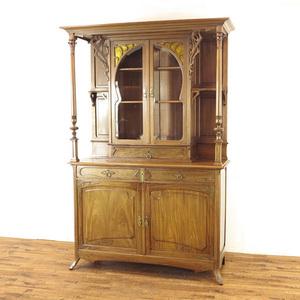 キャビネット アールヌーボー様式 美しいデザイン 希少なお品です 食器棚 収納棚 飾り棚 フランス アンティークフレックス 63374