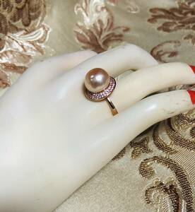 Luxury 12mm large grain ♪ bracket pure silver natural freshwater pearl / diamond impart ring ♪ size: free ♪ P