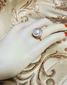 Luxury 12 mm large grain ♪ bracket pure silver natural freshwater pearl / diamond impart ring ♪ size: free ♪ w