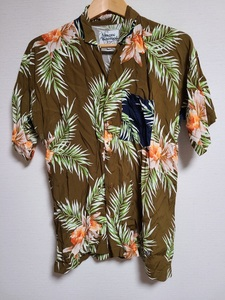 18ss ヴィヴィアンウエストウッド vivienne Westwood MAN アロハシャツ 半袖 オーブ 刺繍 ワンポイント 花柄 ボタニカル 茶色 日本製 Leon