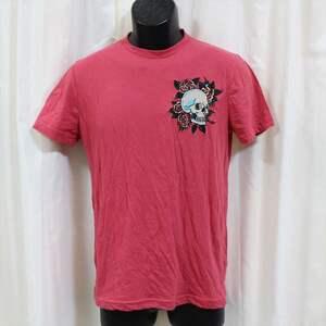 エドハーディー ED HARDY メンズ半袖Tシャツ ピンクレッド Sサイズ 新品 ロゴ刺繍