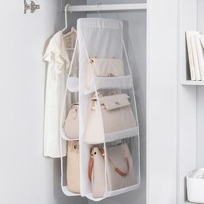送料無料!バッグ収納 収納ボックス 吊り下げ収納バック収納折りたたみ衣類ラック壁掛け不織布水洗い両面収納 壁掛け ポケット6個 ホワイト