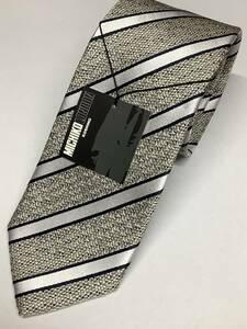 新品ミチコロンドン日本製ネクタイ オフホワイト京都織物の高級ストライプ シルク100%お買い得サービス