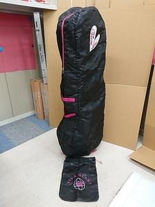 VIVA HEART ビバハート キャディバッグカバー トラベルカバー 黒×ピンク 収納袋付