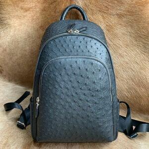 軽い オーストリッチレザー 本ダチョウ革* メンズバッグ リュックサックーバッグク  旅行 出張大容量 鞄