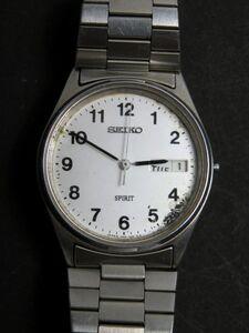 セイコー SEIKO スピリット SPIRIT クォーツ 3針 デイデイト 純正ベルト 7N48-7A00 男性用 メンズ 腕時計 O712 ジャンク 稼働品
